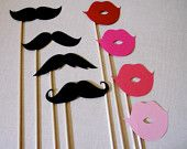 Groom and Bride Glasses Photo Booth Prop Set. Photo Booth Props. Wedding Accessories. Mustaches and Lips. Set of 4.. $10.00, via Etsy.