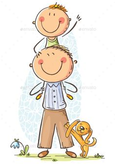Buy Father and Son Having Fun by katya_dav on GraphicRiver. Father and son having fun, cartoon vector illustration Art Drawings For Kids, Drawing For Kids, Cute Drawings, Art For Kids, Clipart, Family Drawing, Children's Book Illustration, Stick Figures, Father And Son