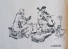 Músicos callejeros / Street musicians. Ink sketch, Joaquim Francés