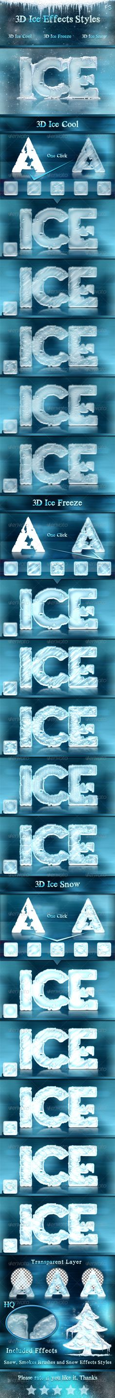 3D Ice Cool, Freeze  Snow Effects Styles