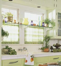I like the shelf in the middle of the window. Fitted Kitchen Curtains for Privacy.