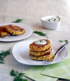 These Gluten Free, Vegan Zucchini Corn Fritters with Dill Cashew Cream look AMAZING.