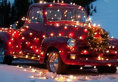 Nelly in all her holiday glory! - (old red truck, Christmas lights) Christmas Truck, Noel Christmas, Merry Little Christmas, Country Christmas, All Things Christmas, Winter Christmas, Vintage Christmas, Christmas Crafts, Christmas Decorations