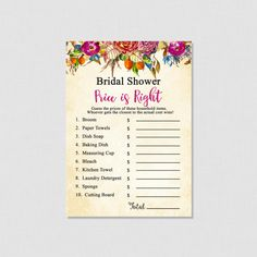 Purple Floral Printable Price is Right Game - Floral Bridal Shower Games - Price Is Right Bridal Game - Printable Bridal Shower Games- 0011P