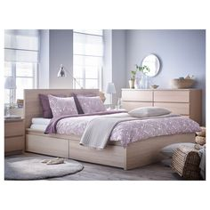 MALM High bed frame / 2 storage boxes - white stained oak veneer, Luroy - IKEA Source by sonamcookie Bed Frame With Storage, Bed Storage, Storage Spaces, Storage Boxes, Extra Storage, Ikea Beds With Storage, Sheet Storage, Bedding Storage, Bedroom Storage