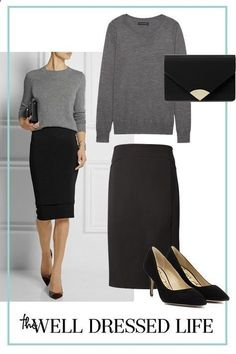 Women's Skirts - - Wear to Work: Less is More - The Well Dressed Life Womens Fashion High Waist A-Line Pleated Knee-Length Skirts Office Dress Welcome. Women's Leather Micro Mini Skirt Sexy Wet Look Bodycon Lingerie Club Party Dress. Women S Office Outfits, Mode Outfits, Office Wear, Fashion Outfits, Office Chic, Dress Fashion, Fashion Fashion, Office Fashion, Fashion 2018