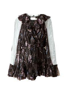 55bbc99da7fd1 ZIMMERMANN Zimmermann Ruffled Playsuit In Black Lavender Floral Silk  Crinkle Georgette.  zimmermann  cloth
