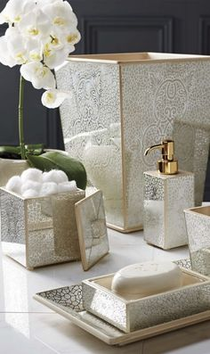 The intricate design of our Miraflores Bath Accessories is painted by hand  on mirrored glass panelsbella lux mirrored rhinestone bathroom accessories dispenser  . Rhinestone Bathroom Accessories. Home Design Ideas