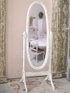 Shabby Cottage Chic White French Cheval Rose Mirror Standing | eBay