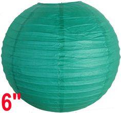 "6"" Teal Blue Green Chinese Japanese Paper Lantern"