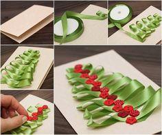 cartao de natal decorado com fita