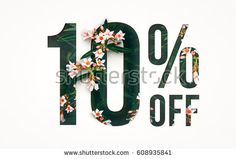Flowers spring sale 10 percent off. Paper cut with flowers and leaves sale 10% on white background. Unique selling background for flyer, poster, shopping, for symbol sign, discount, selling, banner.