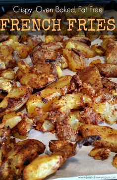 Crispy, Oven Baked, Fat Free French Fries - Brand New Vegan Food Recipes Healthy, Food Recipes Homemade Whole Food Recipes, Cooking Recipes, Healthy Recipes, Low Fat Vegetarian Recipes, Healthy Fries, Vegan Vegetarian, Fat Free Recipes, Mcdougall Recipes, Mcdougall Diet
