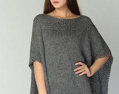 Poncho tejido a mano / capa de carbón de leña eco algodón poncho - listo para enviar