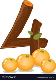 Four oranges vector image on VectorStock Numbers Preschool, Learning Numbers, Preschool Math, Kindergarten Math, Montessori Activities, Alphabet Activities, Preschool Activities, Cute Alphabet, Alphabet And Numbers