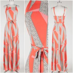 New Coral And Pink Abstract Print Sleeveless Belted Maxi Dress Size Large #FabulouslyDressedBoutique #Maxi #Cocktail