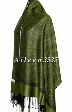 "STUNNING70 Pashmina 30 Silkpaisley Shawl Green Black | eBaySize* 28"" x 76"" Fringes* 3"" at both ends"