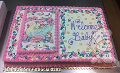 Social0283 | Baby Shower Cake | Baby and Swan Photo Baby Shower Cake.
