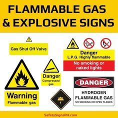 Make workers aware of the presence of specific gases and hazardous substances with our customized flammable g. Construction Safety, Warning Signs, Gas Station, Philippines, Coloring, Ideas, Thoughts