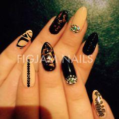 Glam nude and black OTT Bio Sculpture nails