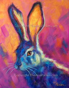 Daily Painters Abstract Gallery: Jack Rabbit Painting in Vibrant Colors by Theresa Paden