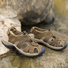 US Size 6.5-10.5 Mens Summer Beach Sandals Magic Stick Adjustment Leather Shoes