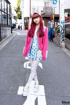 Pink Hair, SPANK! Tights, Platform Sandals & Little Mermaid in Harajuku Pink Hair & Spank Fashion in Harajuku – Tokyo Fashion News