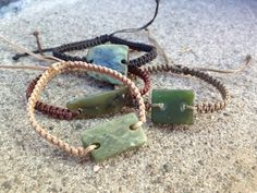 Greenstone chip bracelets - carry a piece of precious pounamu with you for protection! These bracelets are handmade, custom options are available. $25 + shipping on The Bead Shop's website: QTgem.com