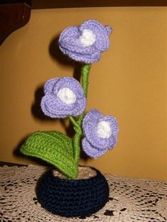 crochet violet orchid evergreen plant by Kilewia on Etsy, $15.00