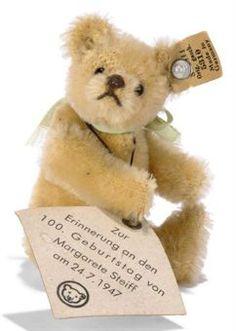 A STEIFF MINIATURE MARGARETE STEIFF 100TH BIRTHDAY TEDDY BEAR, (5310), jointed, blonde mohair, black eyes, brown stitching, FF button with cream card tag and large swing tag Zur Erinnerung an den 100. Geburtstag von Margarete Steiff am 24.7.1947, 1947 --3½in. (9cm.) high (crease to ear tag)