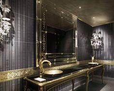 gold bathrooms designs | Black bathroom and black bathroom vanity is a trend, because black is ...