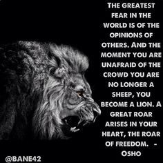 The greatest fear in the world is of the opinions of others. & the moment you are unafraid of the crowd you are no longer a sheep, you become a lion. A great roar arises in your hear, the roar of freedom. - Osho