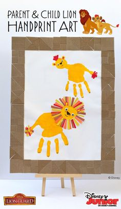 Create your own special keepsake inspired by Disney Junior's The Lion Guard with this parent and child lion handprint art activity! This is definitely something you'll want to save and cherish. Introduce your kids to The Lion King with the all new series, The Lion Guard, premiering this Friday morning!