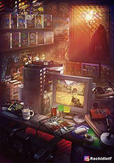 Eine Hommage an die Kinderzimmer der von Rachid Lotf Design & Art Retro Video Games, Video Game Art, Fox Racing, Vespa Racing, Racing Wallpaper, Day Of The Tentacle, Design Art, Game Design, Artwork Design