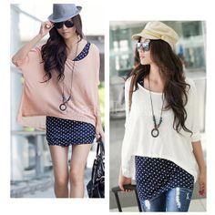New Korea Women 2 Pcs Loose Smock Polka Dots Vest T-shirt