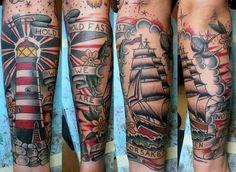 Mens Sleeves Splendid Sparrow Light House Tattoo