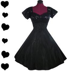Vintage 50s Black Sequin Party Dress XS S, $125.00