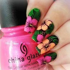 Spring Nail Colors, Spring Nails, Summer Nails, Fancy Nails, Diy Nails, Gorgeous Nails, Pretty Nails, Hawaiian Nails, Tropical Nail Art