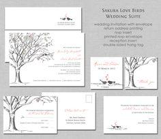 Sakura Cherry Blossom Love Birds Wedding Invitation