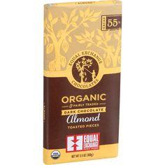 Equal Exchange Organic Chocolate Bar - Dark Chocolate - 55 Percent Cacao - Almonds - 3.5 oz Bars - Case of 12