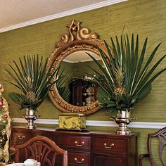 Love the use of Palmetto palms which were considered a weed in my childhood. Seaside Style: Images of a Low Country Christmas West Indies Decor, West Indies Style, British West Indies, British Colonial Bedroom, British Colonial Style, Estilo Colonial, Seaside Style, Tropical Decor, Tropical Centerpieces