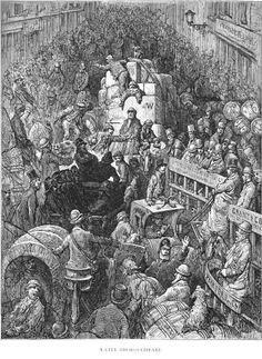 """A city thoroughfare (from Blanchard Jerrold and Gustave Doré's 1872 """"London: A Pilgrimage"""")"""
