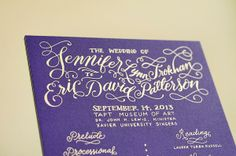 Jennifer + Eric's Colorful Gold Foil Calligraphy Wedding Invitations