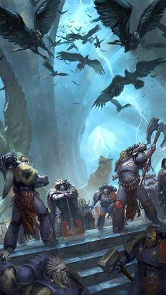 The Curse of the Wulfen. Warhammer 40k Space Wolves, Warhammer 40k Art, Warhammer 40k Miniatures, Warhammer Fantasy, Fantasy Star, Dark Fantasy, Sci Fi Fantasy, Space Marine, Fantasy Artwork