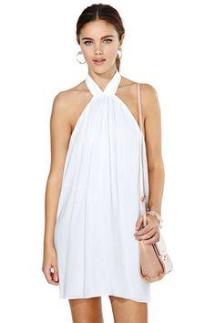 flowy white halter dress
