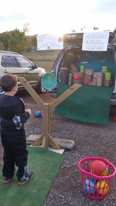 Angry Birds - Trunk-or-treat game with slingshot, boxes and pig cans to knock over... Don't be an Angry Bird - Love your enemies Luke 6:27 - Trunk or Treat FUN