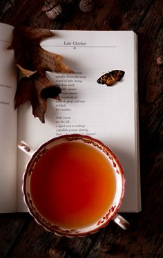 Autumn, tea, book