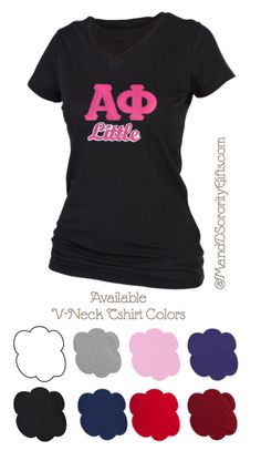 Alpha Phi Little V-neck T-shirt.  *Recommended Big Little Gift.  $28.98