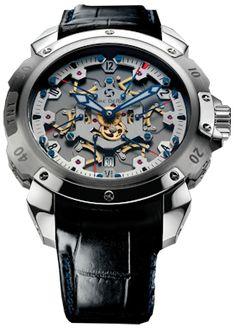 Pierre DeRoche TNT Royal Retro Steel #PierreDeRoche #watch #watches #chronograph steel case with crocodile skin and automatic movement