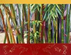 Bamboo Forest acrylic on canvas 70 x 90 x 4cm: Since coming to north Queensland from the Darling Downs in the 1960s Sylvia has been inspired by the tropical landscape for her art. A freelance fine artist